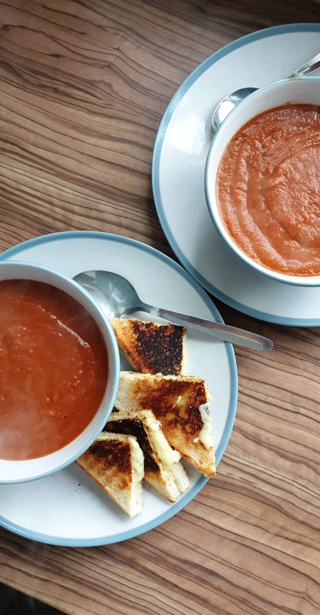 cut our food bill in half- fresh tomato soup and grilled cheese